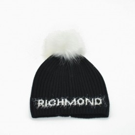 John Richmond 4954 black and white ponpon beanie