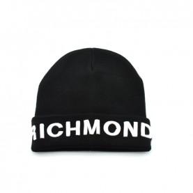 John Richmond 4955 black and white logo beanie