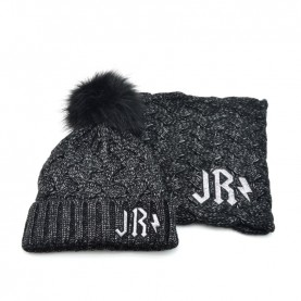 John Richmond 4932 black lurex kit with scarf and ponpon beanie