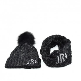 John Richmond 4932 black lurex kit with scarf and ponpon beanie