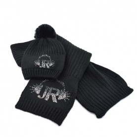 John Richmond 7901 black kit with scarf and ponpon beanie