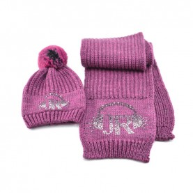 John Richmond 7901 mauve kit with scarf and ponpon beanie