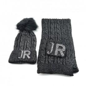 John Richmond 7902 black lurex kit with scarf and ponpon beanie