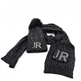 John Richmond 7902 black lurex kit with scarf and ponpon beanie