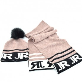 John Richmond 7903 pink kit with scarf and ponpon beanie