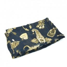 John Richmond 4920 blue and gold scarf