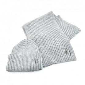 Trussardi Jeans 59Y00003 woman grey lurex scarf and beanie kit