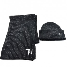 Trussardi Jeans 59Y00003 woman black lurex scarf and beanie kit