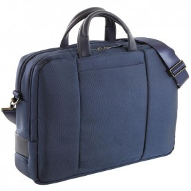 Nava EP039NB Easy plus navy blue Double Compartment Briefcase With Laptop And Ipad Pockets