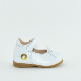 Walkey H60450A baby girl white first steps flat shoes