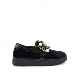 Holala HS0020T black velvet slip on with pearls