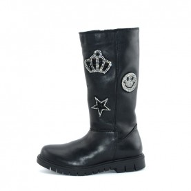 Holala HL0012L girl black leather boots