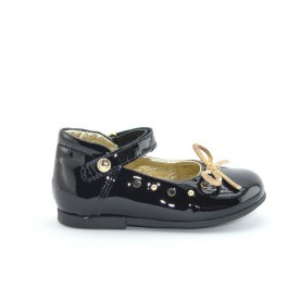 Alviero Martini N0036 baby girl black  dolly shoes