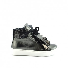 Morelli 50247 girl gun metal sneakers with rouches