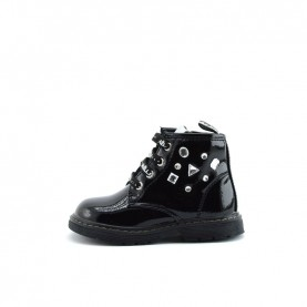 Gaelle G-092 black lace ups ankle boots