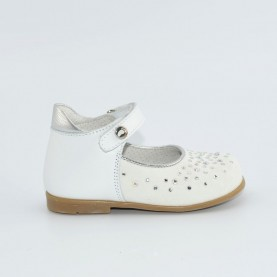 Walkey 00267 baby girl white first steps flat shoes