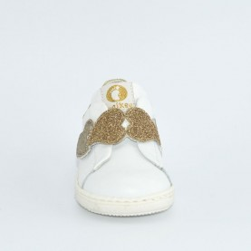Walkey 00277 baby girl white first steps shoes with platinum hearts