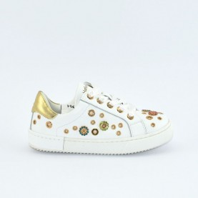 Holala HS0041L white and platinum leather sneakers