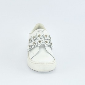 Holala HS0050L white leather sneakers with flowers