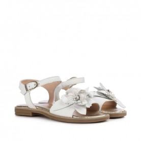 Morelli 50404 white sandals with flowers