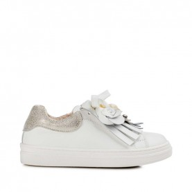 Morelli 50332 white sneakers with fringe and flowers