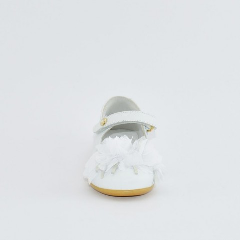 Walkey 40695 baby girl white first steps flat shoes