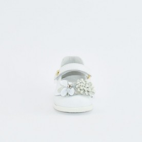 Walkey 40688 baby girl white first steps flat shoes