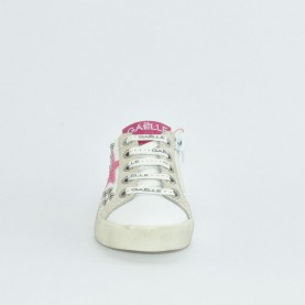 Gaelle G-142 white and pink sneakers