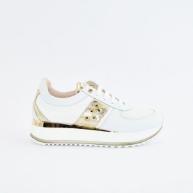 Morelli 50756 white and platinum sneakers