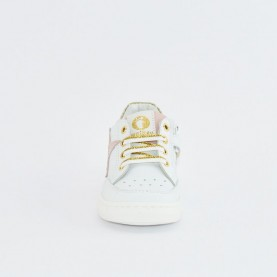 Walkey 40736 baby girl white first steps shoes with gold and pink star details