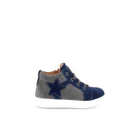 Walkey 40072 baby boy blue and grey lace ups shoes