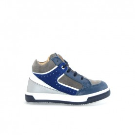 Walkey 40420 baby boy grey and blue lace ups shoes