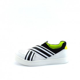 Morelli 00479 white black and yellow fluo slip-onsneakers