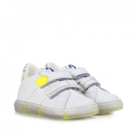 Walkey 40217 baby boy white and yellow fluo shoes