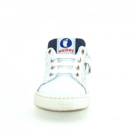 Walkey H60537 baby boy white/blue first steps shoes