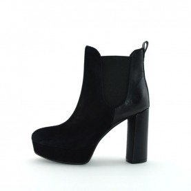 Barachini 7272B woman black leather high heels ankle boots