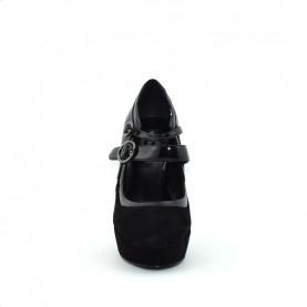 Barachini 7075A woman black leather high classic heels