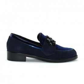 Barachini 7182A woman blue velvet and suede loafer