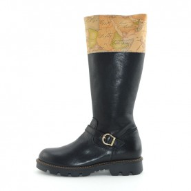 Alviero Martini N2567 woman black leather boots with geo details