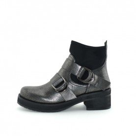 Barachini 9132A woman black and steel ankle boots
