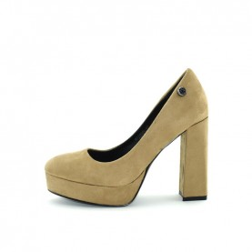 Byblos Blu 677406 woman taupe suede high heels decolletè