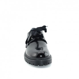 Morelli B54933 woman black leather lace ups shoes