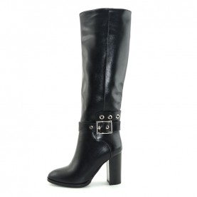 Barachini BB154B woman black leather high heels boots