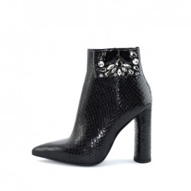 Tiffi N119/100V black leather high heels ankle boots