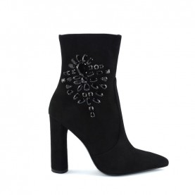 Tiffi N128/100V black suede high heels ankle boots