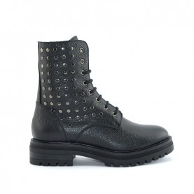 Anna Fidanza AS339HN woman black leather combact boots with studs