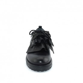 Morelli 50047 woman black leather lace ups shoes with rouches