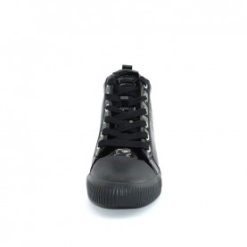 Calvin Klein Ritzy black pathent leather wedge sneakers