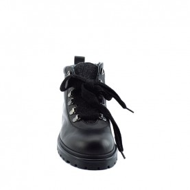 Morelli 50081 woman black leather lace ups ankle boots