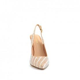 Menbur 20900 even rose glitter slingback heels